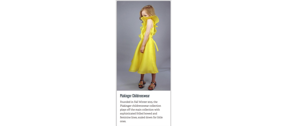 PLAKINGER GIRLS SS16 COLLECTION IN ECO FASHION TALK USA