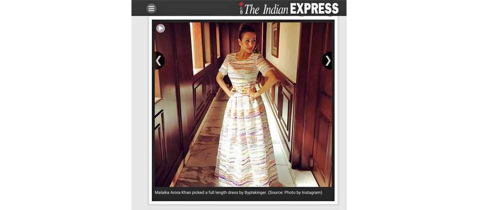MAlAIKA ARORA KHAN IN PLAKINGER BY THE INDIAN EXPRESS