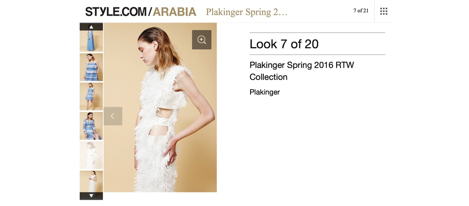 PLAKINGER SS16 COLLECTION IN STYLE.COM ARABIA