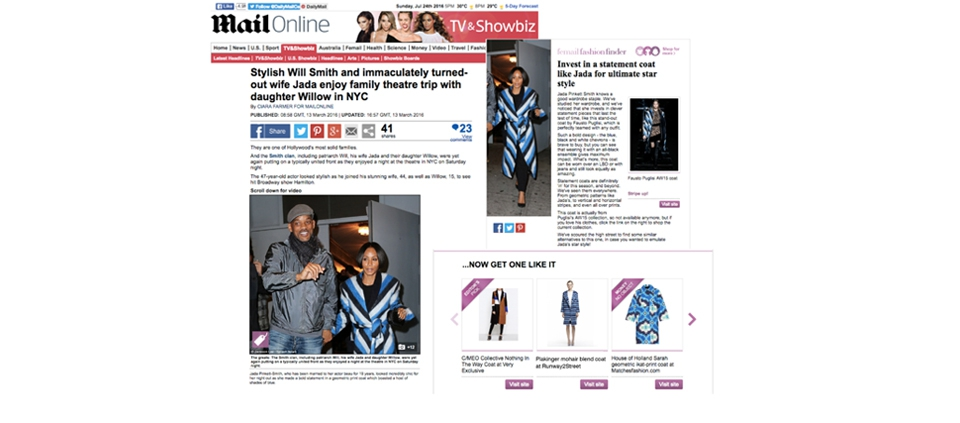 PLAKINGER STRIPED COAT FEATURED IN DAILY MAIL UK