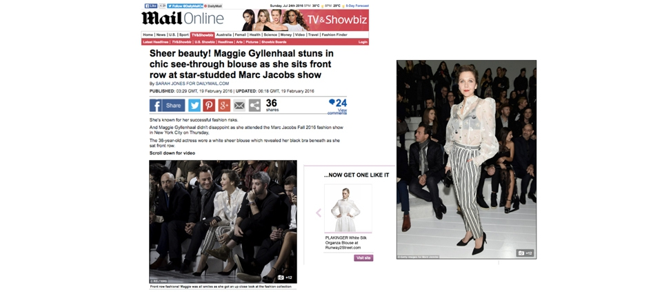 PLAKINGER SILK ORGANZA BLOUSE FEATURED IN DAILY MAIL UK