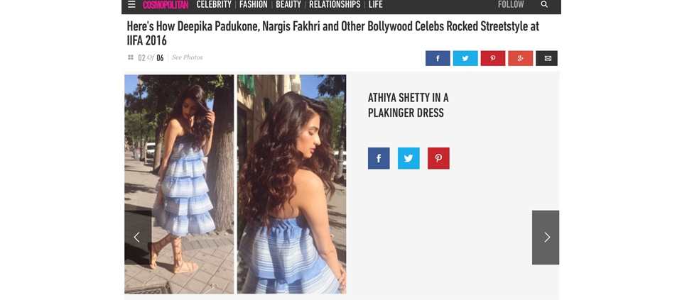 ATHIYA SHETTY IN PLAKINGER DRESS IN COSMOPOLITAN INDIA