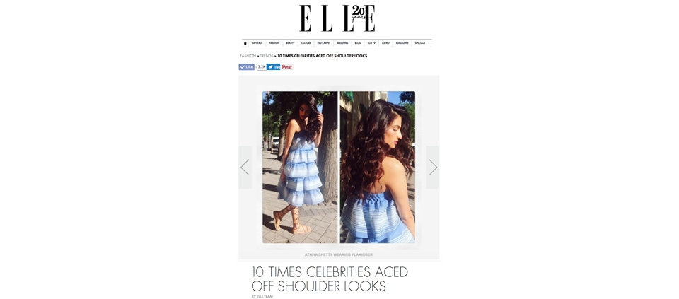 ATHIYA SHETTY IN PLAKINGER DRESS IN ELLE INDIA