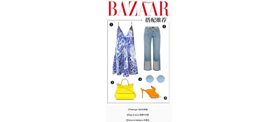 PLAKINGER FLORAL SLIP DRESS IN HARPER'S BAZAAR CHINA